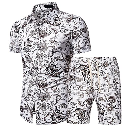 Shirt Hombre Slim Fit Botón Tapeta Cordones Manga Corta Hombres Set Verano Personalidad Imprimir Hombres...