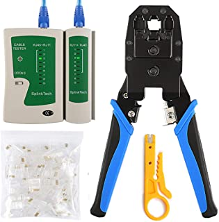 Solsop Cable Tester RJ45 Crimp Tool kit CAT5 Cat5e Crimping Tool Crimp Crimper with 100PCS RJ45 CAT5 CAT5e Connectors, Network Wire Stripper
