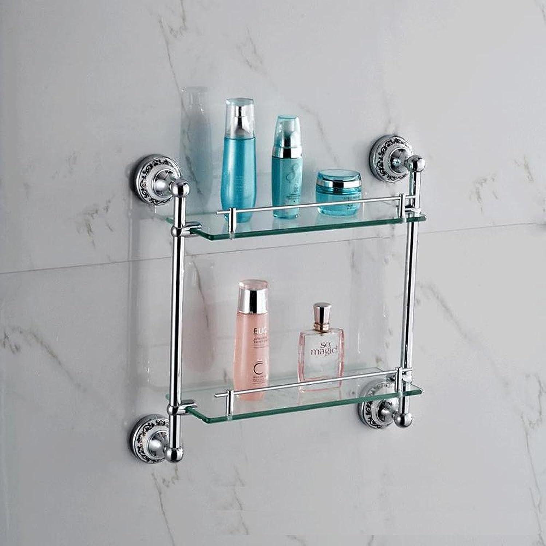 XAH@ golden copper + zinc alloy glass bluee and white porcelain double bathroom rack , Silver