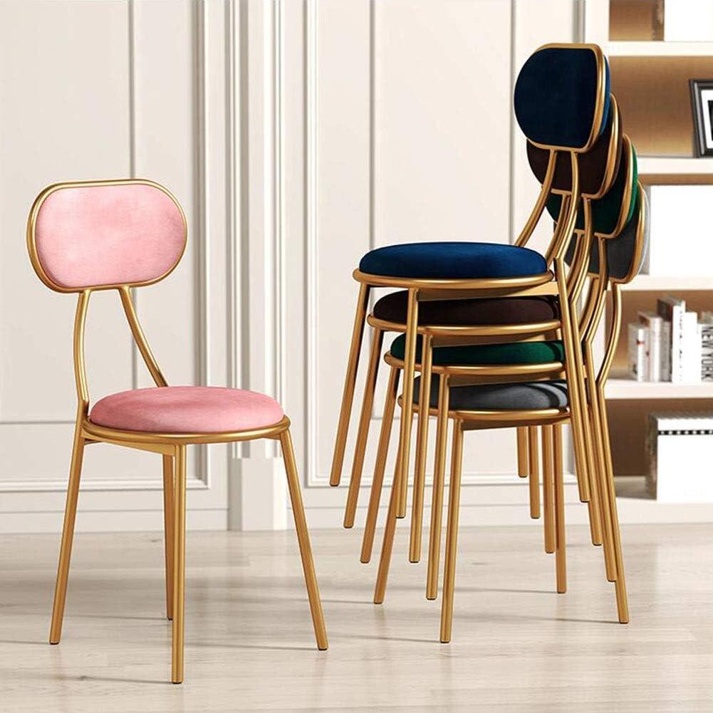 DALL Chaise De Salle À Manger Mode Accueil Chaise De Maquillage Chaise De Table Jambes en Métal Chaise De Café Rembourrés Salon (Color : Pink) Brown
