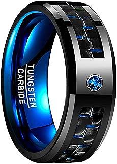 NUNCAD Men's 8mm Black Tungsten Carbide Ring Blue Carbon Fiber Polished Finish Comfort Fit Size 6-15