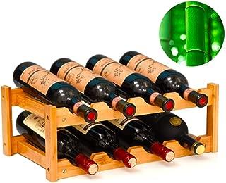 gzshengqi Wine Rack, Bamboo Freestanding Wine Cabinet Shelf, Wine Bottle Holder - 8 Bottle Rack