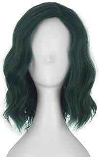 Miss U Hair Girl Adult Short Wavy Dark Green Hair Movie Costume Cosplay Wig for Halloween