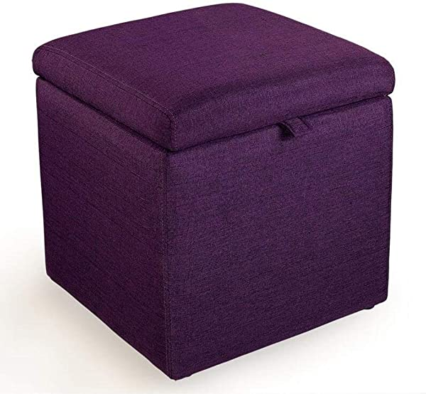 Carl Artbay Wooden Footstool Purple Low Stool Cloth Storage Storage Stool Fashion Bed Stool Solid Wood Frame Home