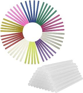 Hot Glue Gun Sticks GoFriend 100pcs 11 Colors Hot Melt Adhesive Glue Stick Mini Glitter for DIY Art Craft & Sealing and Quick Repair, 7mm x 100mm