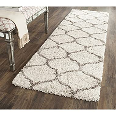 Safavieh Hudson Shag Collection SGH280A Ivory and Grey Moroccan Ogee Plush Runner (2'3  x 6')