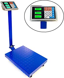 """Goujxcy 300KG/661lbs Weight Electronic Platform Scale Digital Heavy Duty Shipping and Folding Postal Scale with 15.75 x 21.65"""" Durable Large Platform,Industrial Grade Bench Scale (Blue)"""