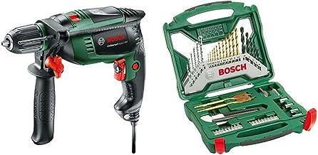 Bosch Universal Impact 800 - Taladro percutor, 800 W, empuñadura adicional, tope de profundidad, maletín (ref. 0603131100) & X-Line Titanio - Maletín de 50 unidades para taladrar y atornillar