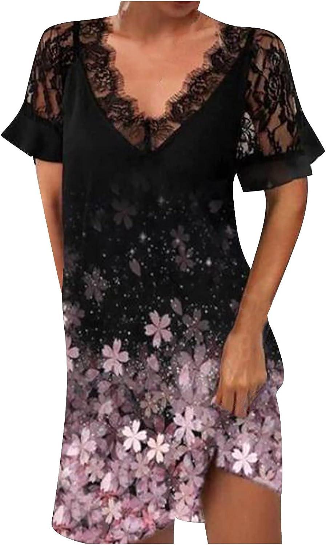 Summer Dresses for Women Lace Patchwork Beach Sundress Short Sleeve Cocktail Dress V Neck Midi Skirt Casual Gowns