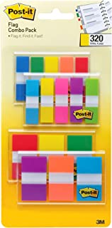Post-it Flags Assorted Color Combo Pack, 320 Flags Total, 200 1-Inch Wide Flags and 120 .5-Inch Wide Flags, 4 On-The-Go Di...