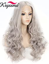 K'ryssma Ash Gray Synthetic Lace Front Wigs 22 inches Long Wave Synthetic Wig T4503 Wavy Grey Wigs for Women Heat Resistant Hair Half Hand Tied