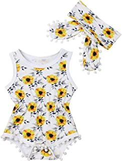 dfd287f429f79 Newborn Kids Baby Girls Clothes Floral Jumpsuit Romper Playsuit + Headband  Outfits