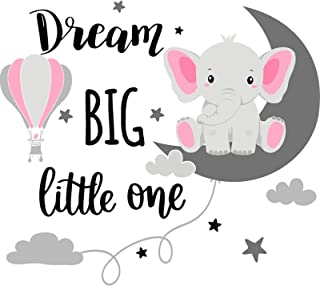 Dream Big Little One Elephant Wall Decals Baby Elephant Wall Stickers Cloud Moon and Star Decal Self Adhesive Wall Decor f...