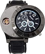 Men's Black Dial Leather Band Flameless Lighter Watch - EA-901