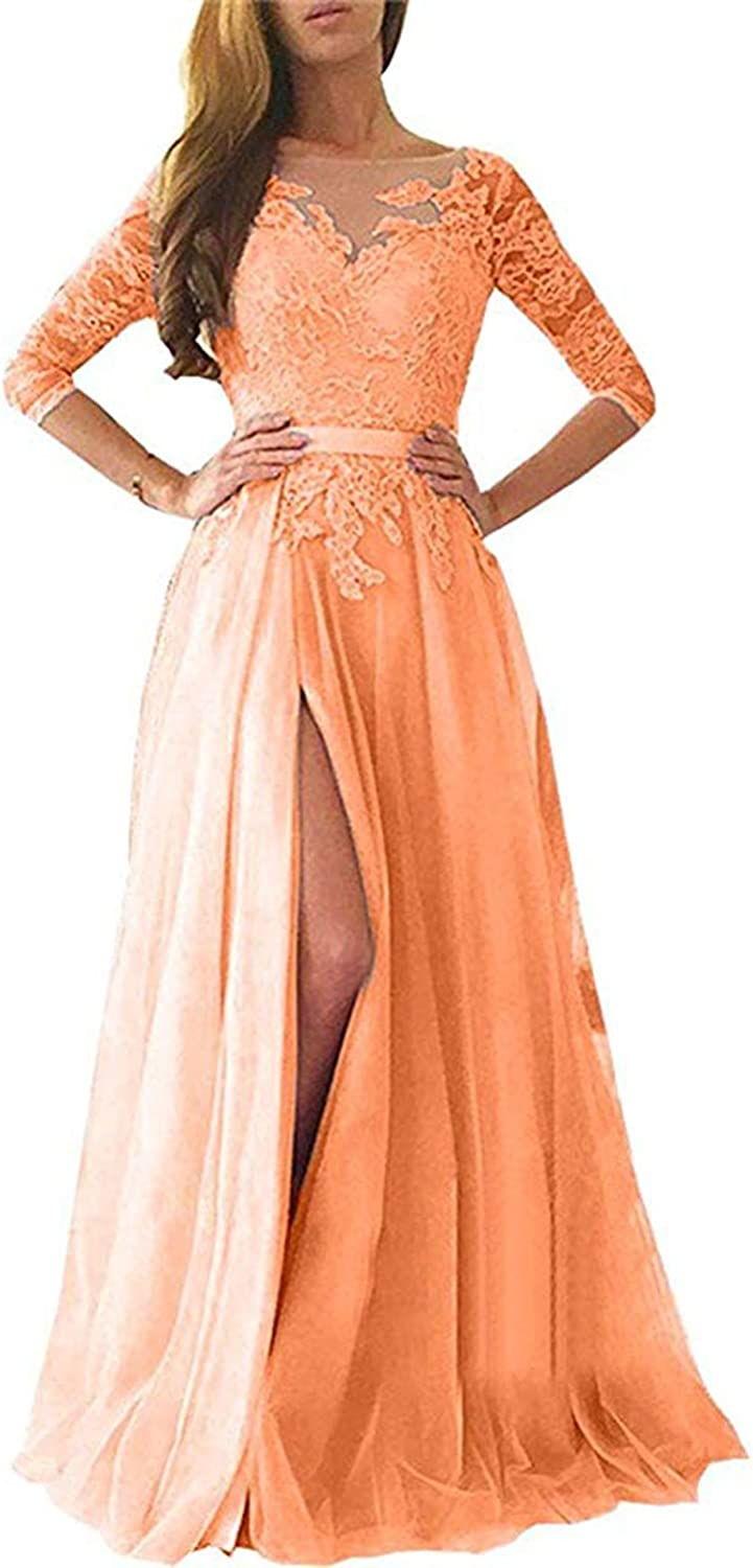 TTYbridal Long Sexy Prom Dress Lace Split Evening Formal Dresses with Sleeves P112