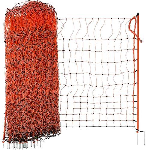 Agrarzone Geflügelnetz 50m elektrifizierbar - Hühnerzaun Hühnernetz Geflügelzaun Doppelspitze orange - mit Strom