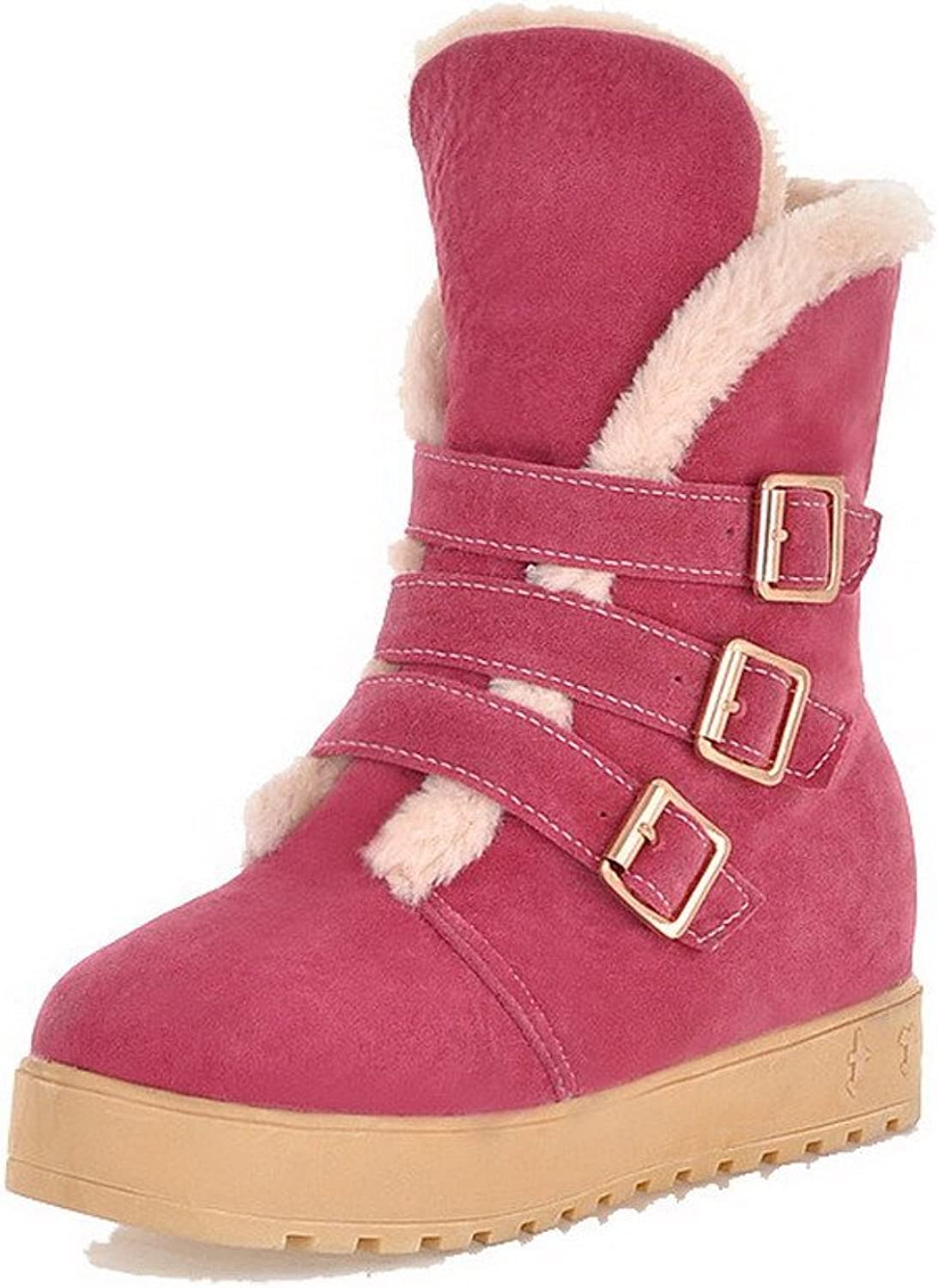 WeenFashion Women's Buckle Round Closed Toe Low-Heels Imitated Suede Low-Top Boots
