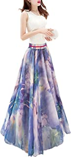 Afibi Boho Floral Long Summer Beach Chiffon Wrap Cover Up Maxi تنورة للنساء