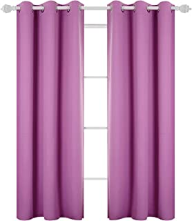Deconovo Room Darkening Thermal Insulated Blackout Grommet Window Curtain Panel for Kids Room 42x84-inch,Fuchsia Pink 1 Panel