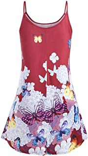 Kiminana Women's Plus Size Butterfly Print Sling Round Neck Top O-Neck Camis Tops Casual Blouse