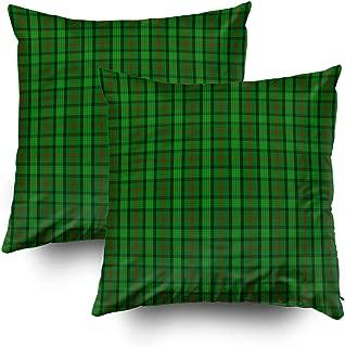 TOMWISH 2 Packs Hidden Zippered Pillowcase Clan Ross Tartan 16X16Inch,Decorative Throw Custom Cotton Pillow Case Cushion Cover for Home