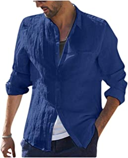 MogogNMen Pure Color Linen Button Down Long-Sleeve Casual Leisure Shirts