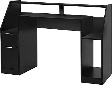 MIADOMODO® Bureau Informatique - Multi-Rangements, 123 x 55 x 90 cm, MDF, Design Moderne, en Noir - Bureau d'Ordinateur,