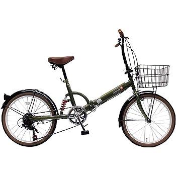 トップワン(TOP ONE) 20インチ折畳み自転車 シマノ外装6段ギア リアサスペンション カゴ・カギ・ライト付 オリーブ FS206LL-37-OL ブラック・モカ・オリーブ・パールホワイト・レッド・ターコイズブルー