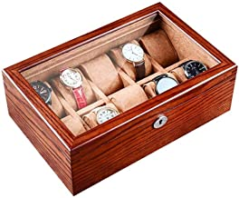 GPWDSN Sieraden Doos 10 Sieraden Display Organizer Horloge Opbergkoffer met Sleutel en Slot, met Glas Top, Bruin