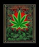 60' x 80' Blanket Comfort Warmth Soft Cozy Air Conditioning Easy Care Machine Wash Green Marijuana