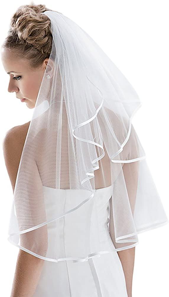 Bridal Veil Women's Simple Tulle Short Bachelorette Party Wedding Veil Ribbon Edge With Comb for Wedding Hen Party