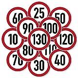 2x Geschwindigkeitsaufkleber Aufkleber Zulässige Höchstgeschwindigkeit 10-180 km/h Auto Anhänger LKW (10cm, 50 km/h)