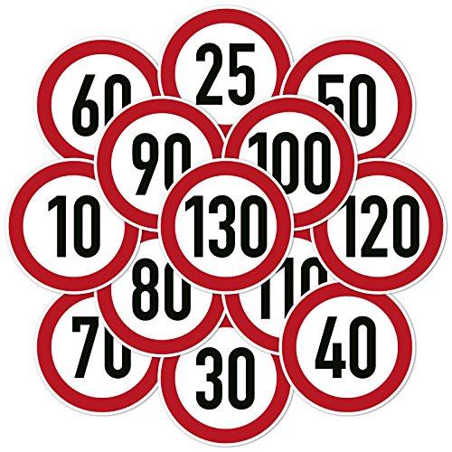 2x Geschwindigkeitsaufkleber Aufkleber Zulässige Höchstgeschwindigkeit 10-180 km/h Auto Anhänger LKW (10cm, 70 km/h)