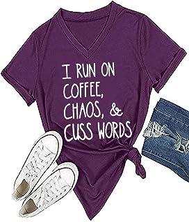 MAXIMGR Womens I Run On Coffee Chaos Cuss Words Funny V-Neck Short Sleeve Summer T-Shirt