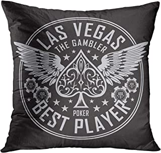 Throw Pillow Cover Black Spade Las Vegas Player Poker Tee Graphics Vectors White Wing Gambling Decorative Pillow Case Home Decor Square 18x18 Inches Pillowcase