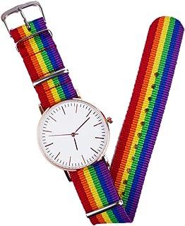 UKCOCO Femmes Quartz Montre Arc-en-Ciel Conçu Montre-Bracelet Mode Unisexe Analogique Montre Ronde Bracelet Montre pour Ho...