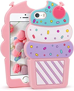 Megantree iPhone 5 Case, iPhone 5S Case, iPhone SE Case, 3D Cute Cartoon Ice Cream Cherry Cupcakes Shaped Soft Silicone Full Protection Shockproof Case Cover for iPhone 5 / 5S / 5C / SE