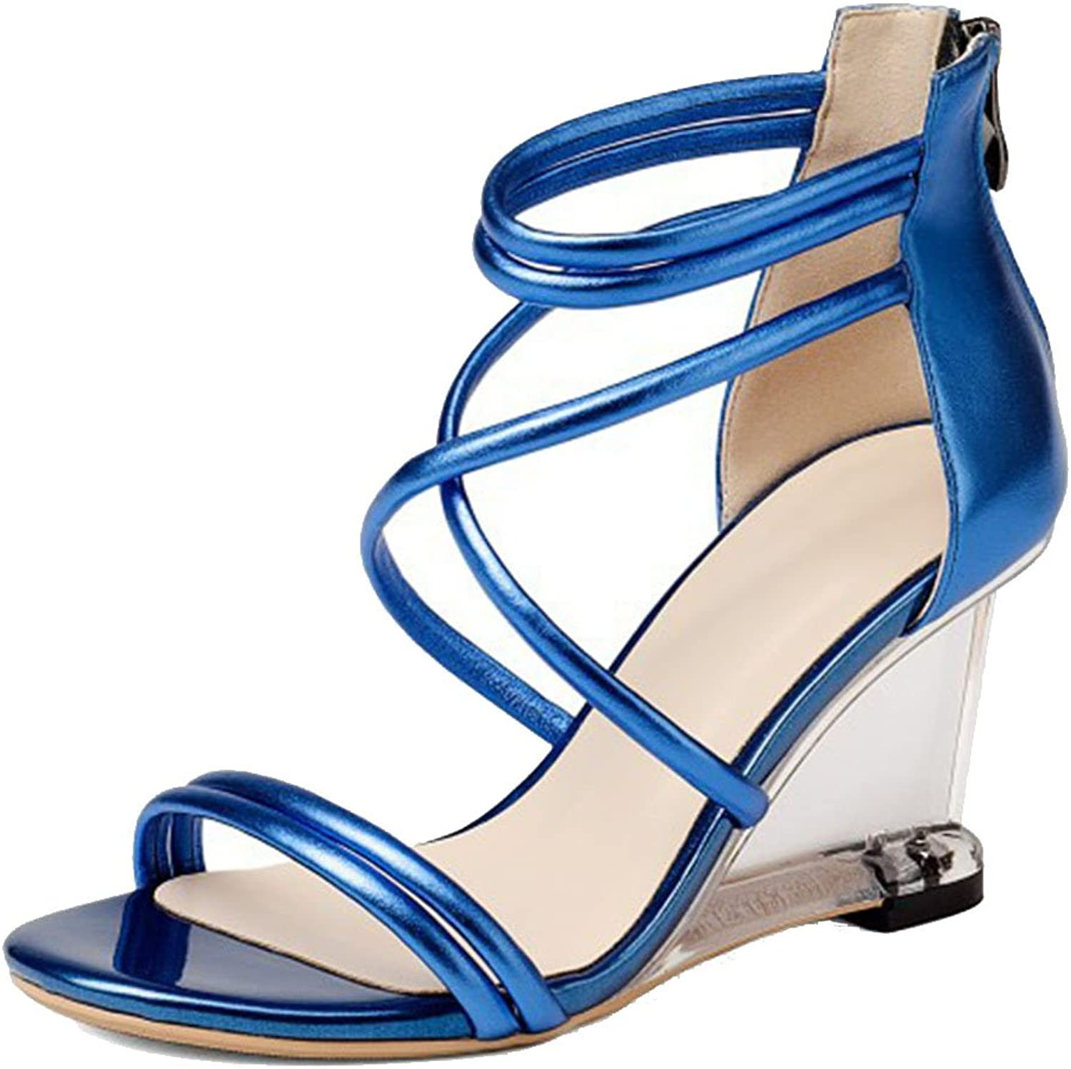 LZWSMGS Ladies and Women's Leather Sandals High Heels Summer Open Toe High Heels Cross Straps Wedge shoes Sandals Party Ball Evening Dress shoes Ladies Sandals (color   bluee, Size   36)
