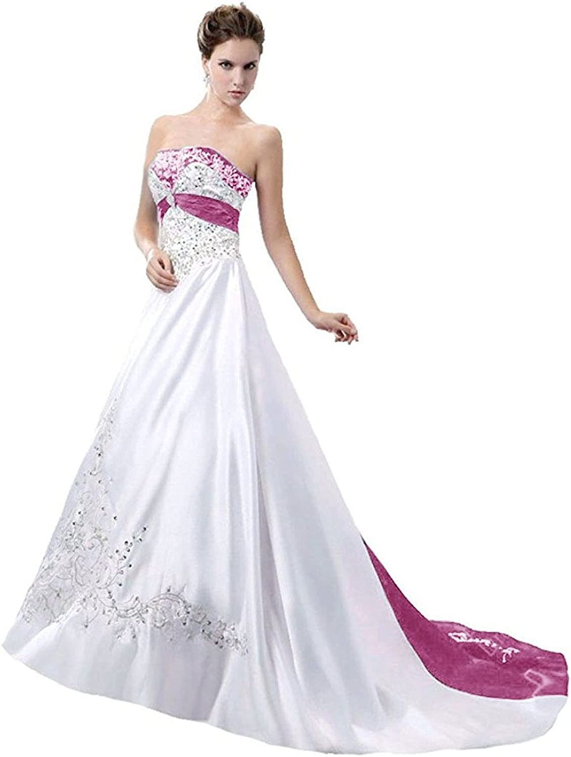 JINGDRESS Embroidery Beaded Wedding Dresses Satin Bridal Gowns for Women