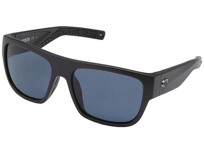 Costa  Sampan (Matte Black Frame/Gray Lens 580P) Fashion Sunglasses