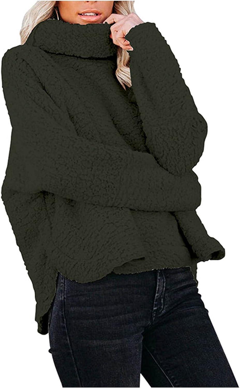Womens Plush Turtleneck Sweatershirt Long Sleeve Pullover Fleece Jumper Top Oversized Asymmetry Hem Sweater