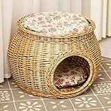 DALEI Cesta de Mimbre Hecha a Mano Cama para Gatos Cueva Casa para Perros Muebles de ratán Perrera Dos Niveles para Gatitos con Cojines y esteras Gratis