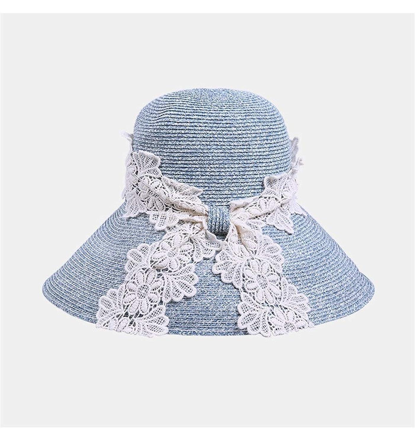 に渡ってメッシュ満足できる女性の繊細なレースの大きな帽子ビーチ帽子日焼け止めカジュアル麦わら帽子バイザー折りたたみ式