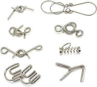 Kvvdi 8 Pcs/Sets Brain Puzzles Chinese 9 Ring Puzzle Toy Intelligence Buckle Lock Toy Consisting of Nine Interlocking Links