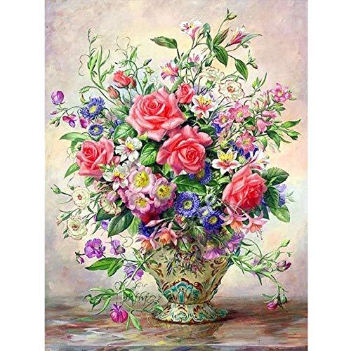 5D DIY vase Full Diamond Embroidery Cross Stitch kit Rose Rhinestone Mosaic Diamond Painting A11 40x50cm