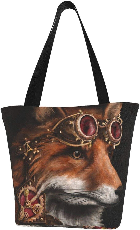 Fox Farm Art Animals Cool Themed Printed Women Canvas Handbag Zipper Shoulder Bag Work Booksbag Tote Purse Leisure Hobo Bag For Shopping