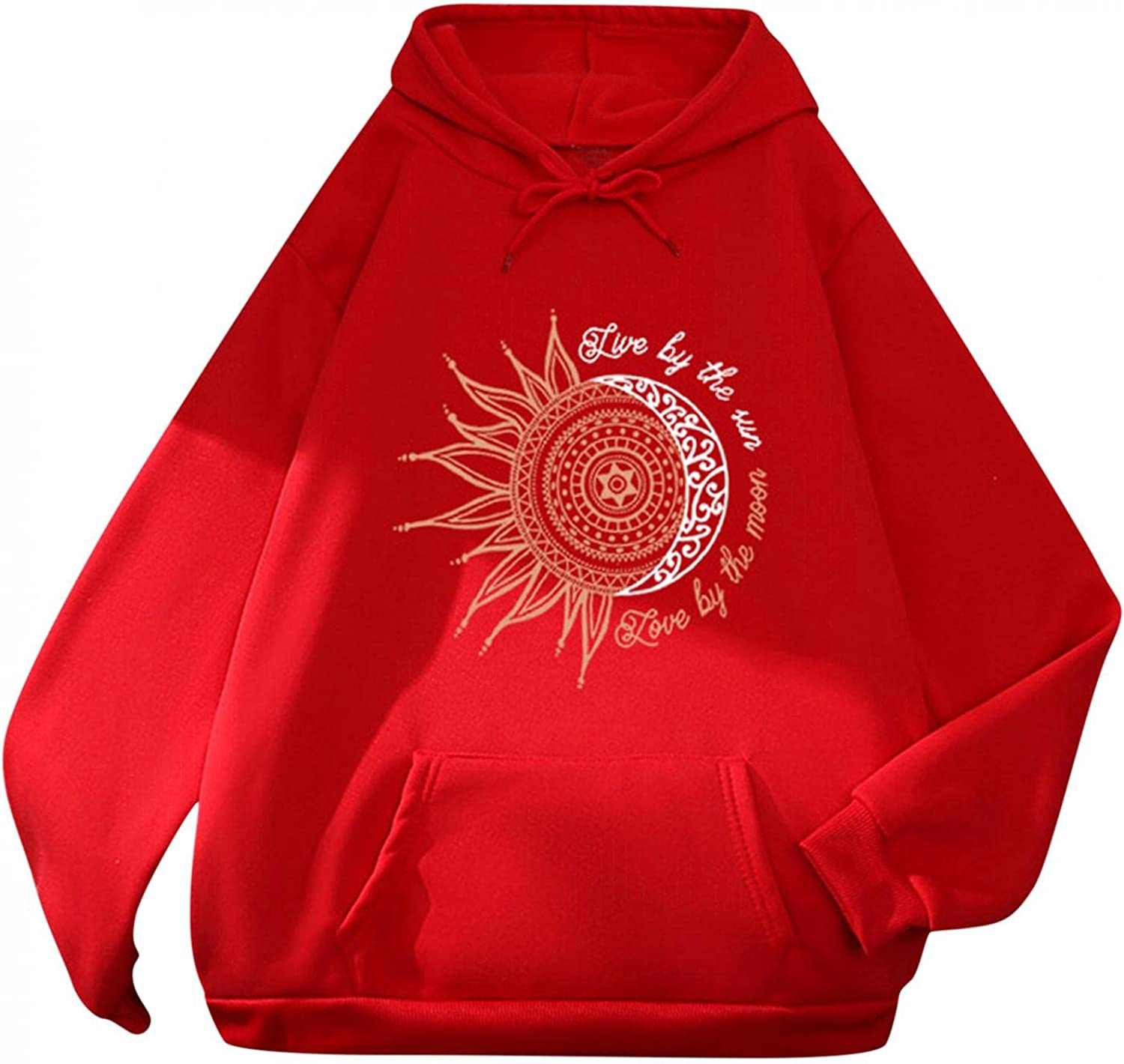 Hotkey Hoodies for Women, Womens Hooded Sweatshirt Sun & Moon Letter Print Pullover Long Sleeve Tops with Large Front Pocket