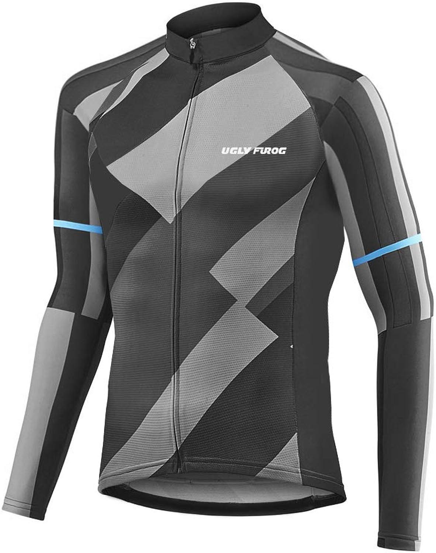 Uglyfrog+ Cycling Jerseys Men's Long Sleeve Bike Shirts Full Zip Bicycle Jacket with Pockets