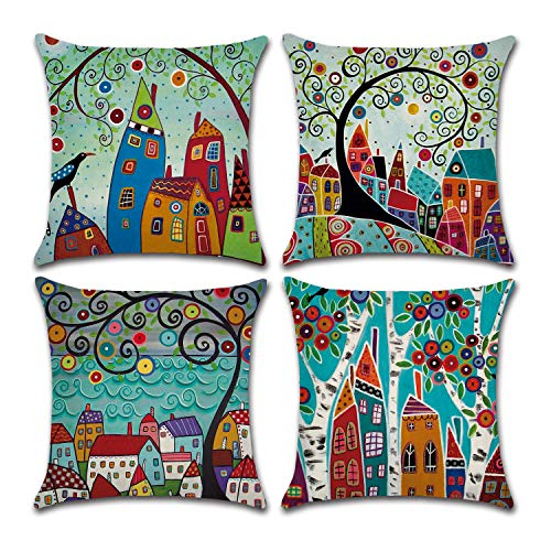 BECOSIM 45x45cm/18x18 Inch 4 Pack Cushion Cover Throw Pillow Case Decorative Square Linen Cushion Covers with Hand Drawn for Retro Style Living Room Sofa Chair Couch Seat (Handdrawn)