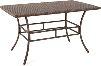 W Unlimited Leisure Collection Outdoor Garden Patio Furniture Dining Table, Dark Brown